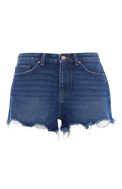 Hochtaillierte Shorts in Dunkelblau