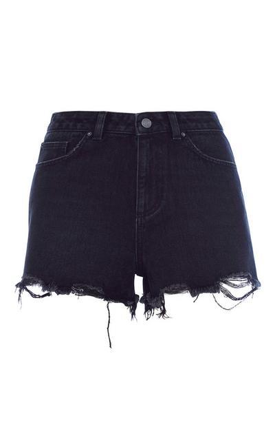 Hochtaillierte Shorts in Schwarz