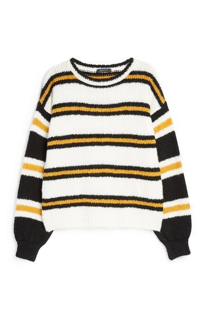 Senfgelb gestreifter Pullover