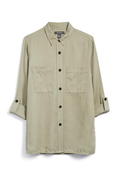 Langes Hemd in Khaki