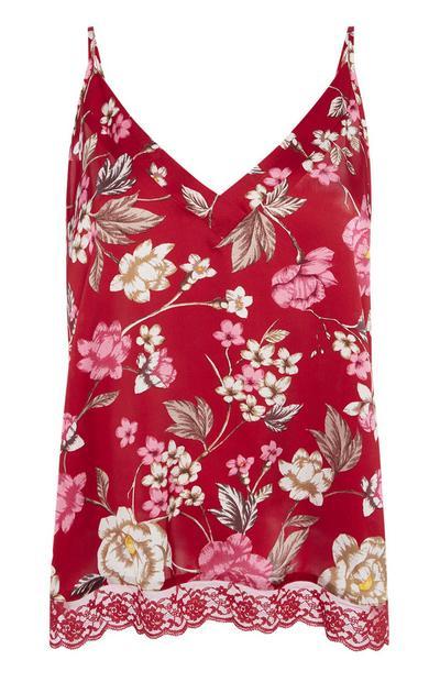 Rotes Pyjama-Trägertop mit Blumenmuster