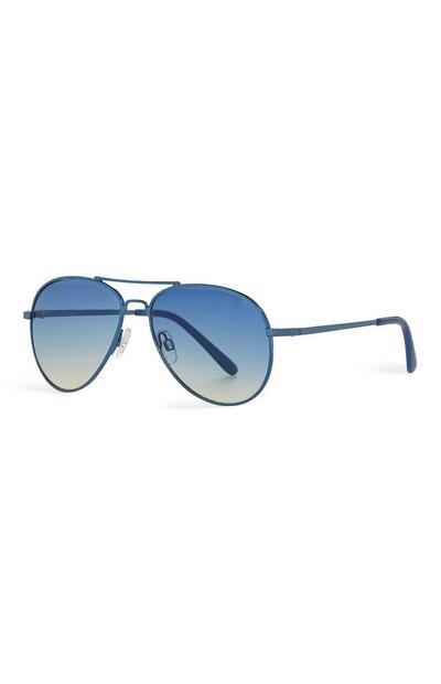 Blaue Pilotenbrille