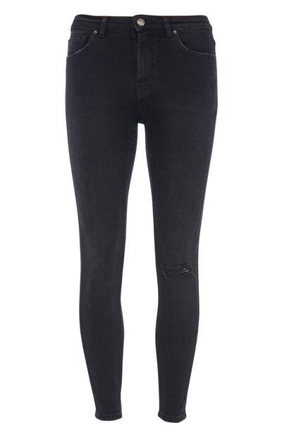 Schwarze Skinny Jeans im Vintage-Design