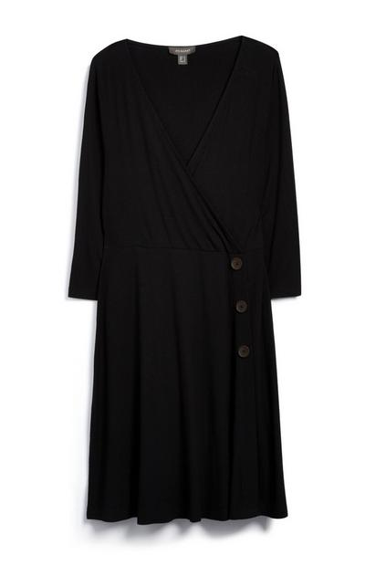 Schwarzes Wickelkleid aus Jersey