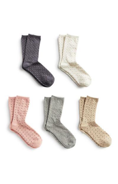 Gepunktete Socken, 5er-Pack