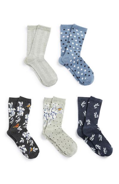 Socken mit Blumen/Punkten, 5er-Pack
