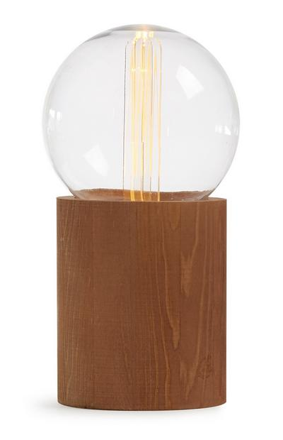 Glühbirnenlampe mit Holzsockel
