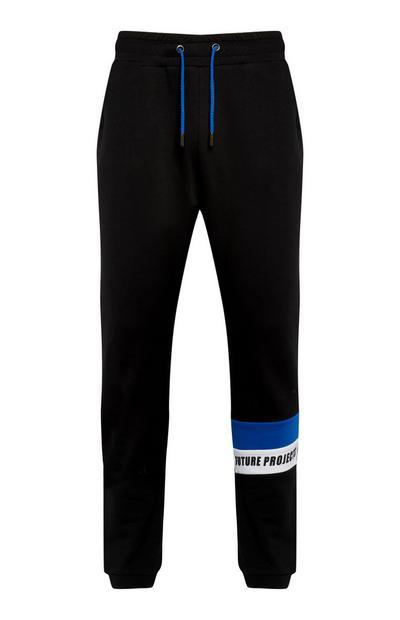 Schwarze, bedruckte Jogginghose
