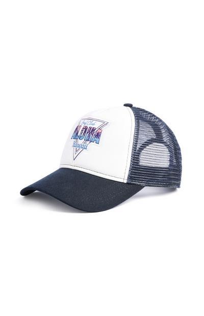 """Weiße """"Aloha"""" Denim-Cap"""