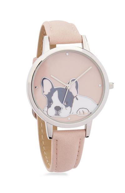 Rosa Armbanduhr mit Bulldogge