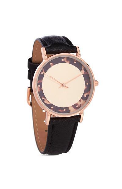 Schwarze Armbanduhr in Schildpattoptik