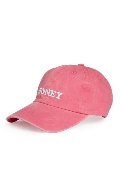 "Pinkes Cap mit ""Honey""-Slogan"