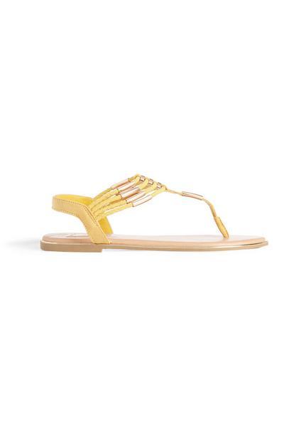 Yellow Beaded Sandal
