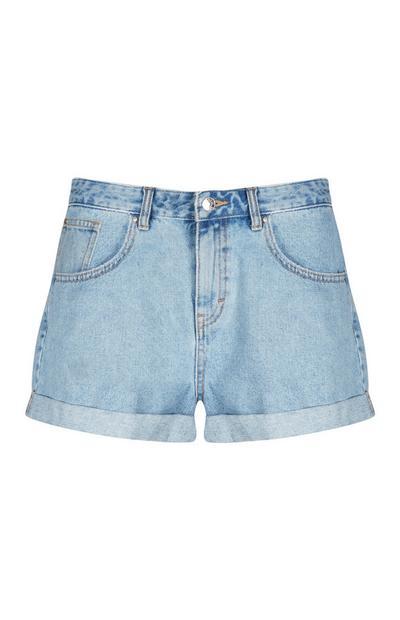 Blaue Mom-Shorts