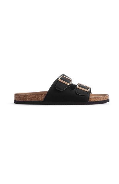 Schwarze Fußbett-Sandalen