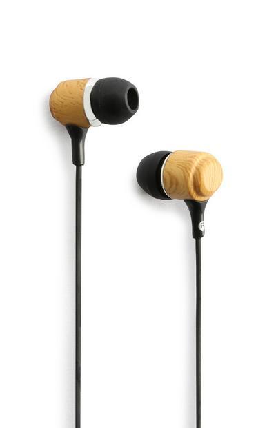 Kopfhörer aus hellem Holz
