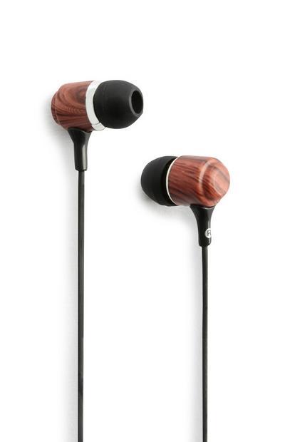 Kopfhörer aus dunklem Holz