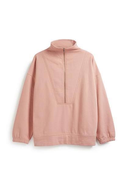Pink Oversized Zip Sweater