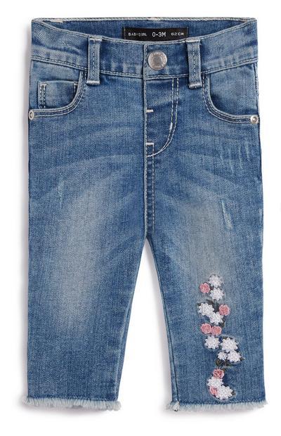 Jeans mit Blumen für Babys (M)