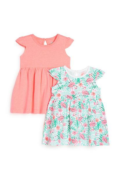 2 Flamingo-Kleider für Babys (M)