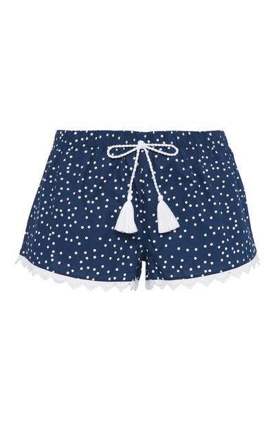 Blaue Pyjamashorts mit Punkten