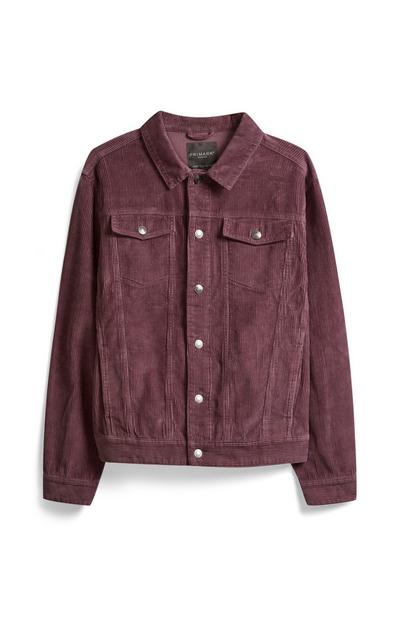Burgundy Corduroy Trucker Jacket