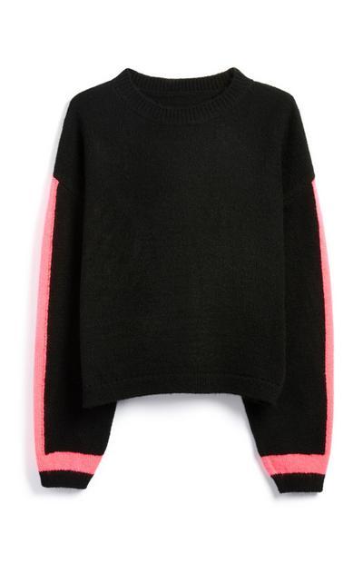 Pullover mit neonfarbenen Ärmeln