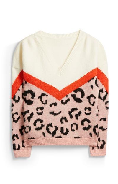 Pullover mit V-Ausschnitt und Tiermuster
