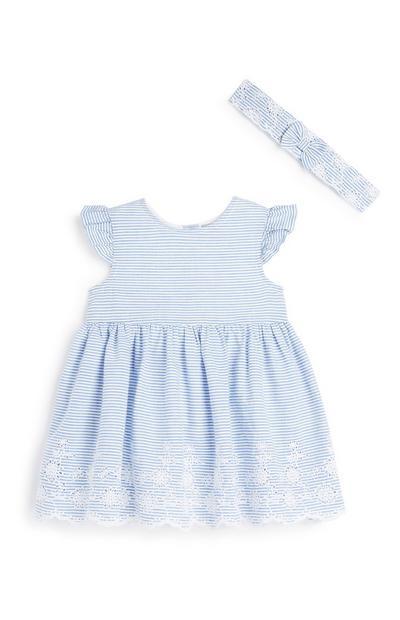 Newborn Girl Stripe Dress And Hairband
