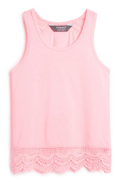 Younger Girl Pink Crochet Vest