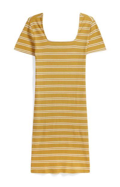 Senfgelbes Kleid mit Streifen