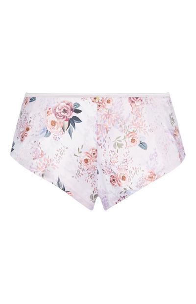 Pink Floral Satin Short