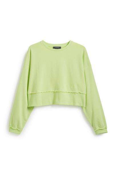 Kurzer Pullover in Neongrün