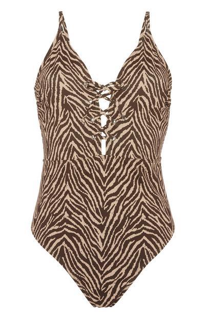 Badeanzug mit Zebraprint
