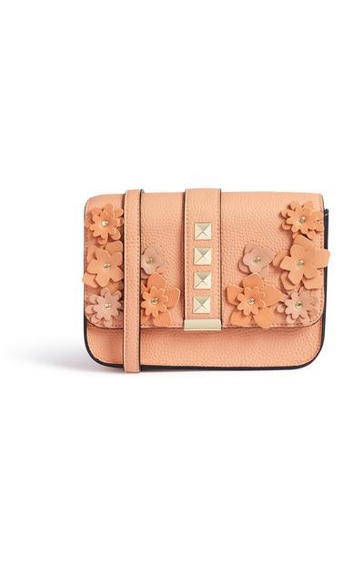 Korallfarbene Tasche mit Blumen