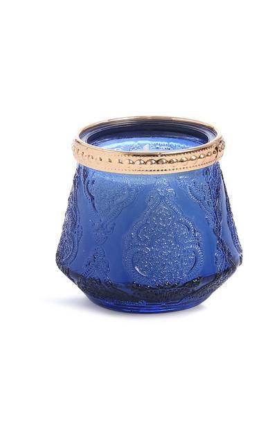 Blaue Kerze im Glas