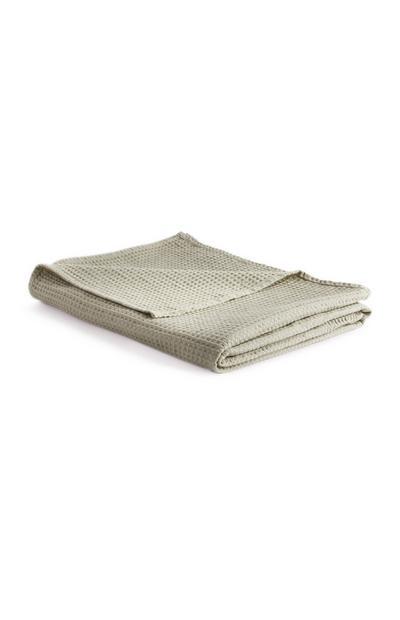 Leichte Decke mit Waffelmuster in Khaki