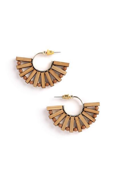 Holzfächer-Ohrringe