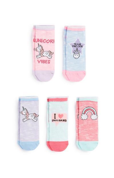 Socken mit Einhorn-Print, 5er-Pack
