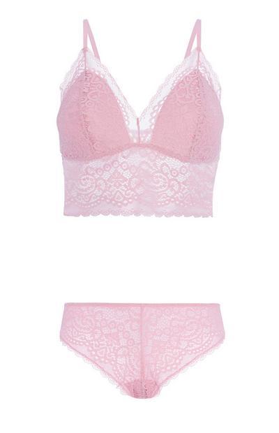 Pink Bra And Brief Set