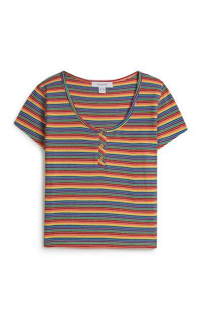 Kurzes T-Shirt mit bunten Streifen
