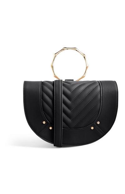 Schwarze Handtasche mit Bambusgriff