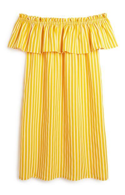 Senfgelbes Bardot-Kleid mit Streifen