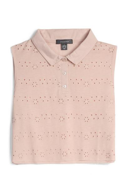 Blush Embroidered Polo Top