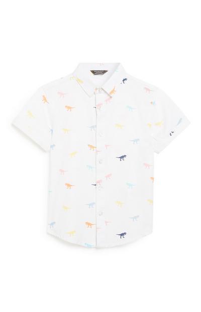 Weißes Dinosaurier-Hemd (kleine Jungen)
