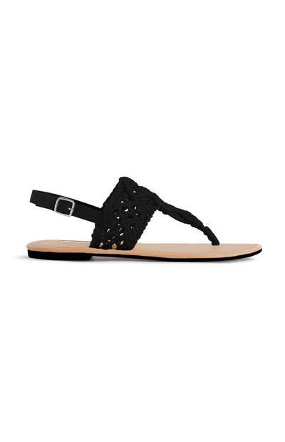 Schwarze Sandalen in Häkeloptik