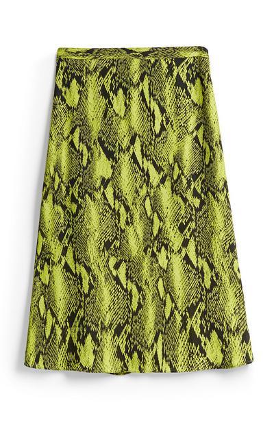 Limettengrüner Rock mit Schlangenprint