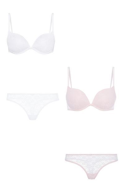 Unterwäscheset in Weiß/Rosa, 2er-Pack