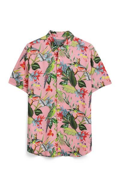Rosa Hemd mit Blumen und Vögeln