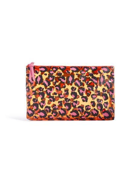 Orange Leopard Print Wash Bag